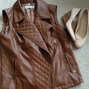 Faux leather quilted vest